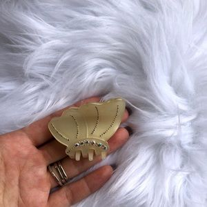 Accessories - Handmade small cream colored butterfly hair clip